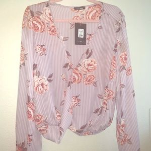 Long Sleeve Plus Floral Mixed Print top